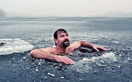Wim hof emerging from ice