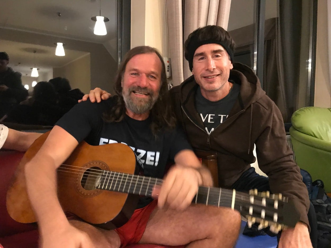 Wim Hof playing guitar