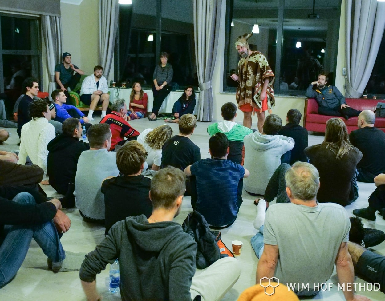 Wim Hof teaching in crazy outfit