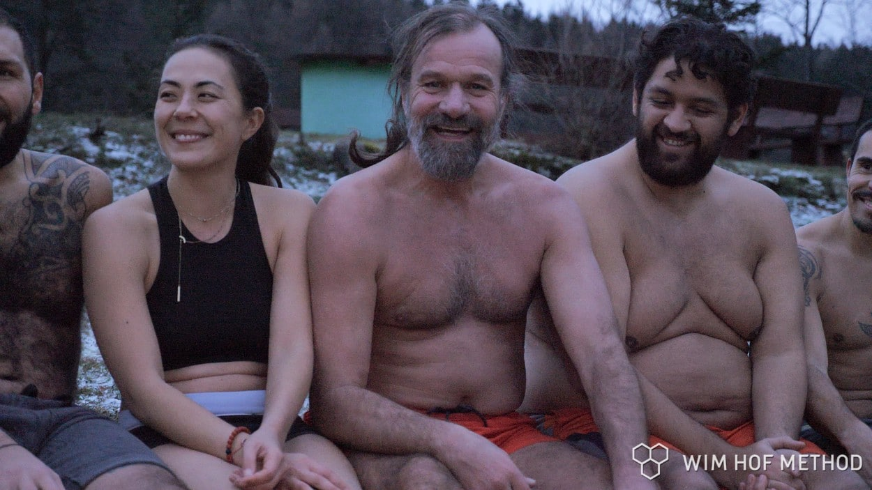 Wim Hof teaching and smiling