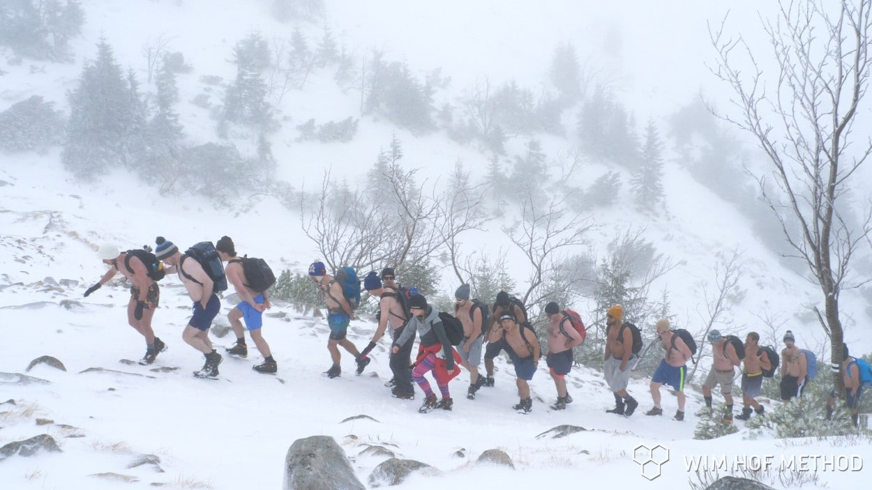 Climbing in a blizzard in shorts