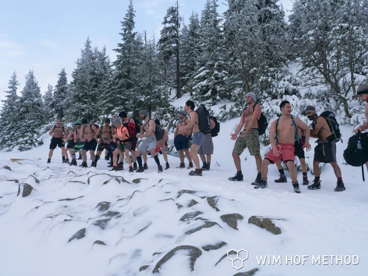 On a shirtless hike in the snow