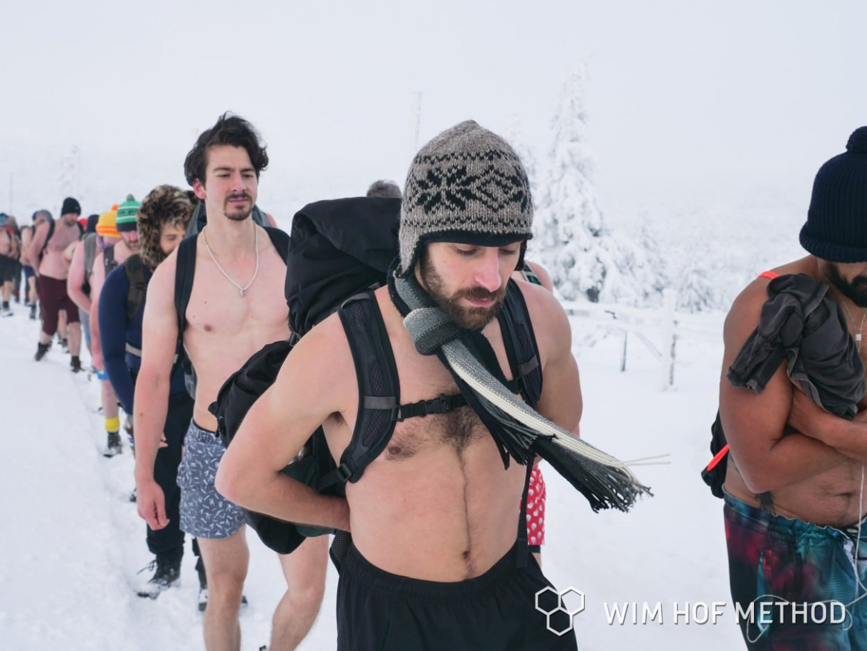 Shirtless on the Wim Hof Winter Expedition