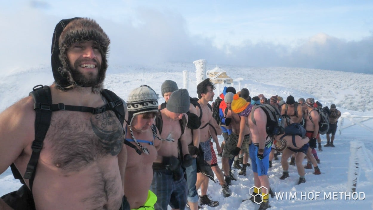 On the top of the mountain on the Wim Hof Winter Travel Expedition