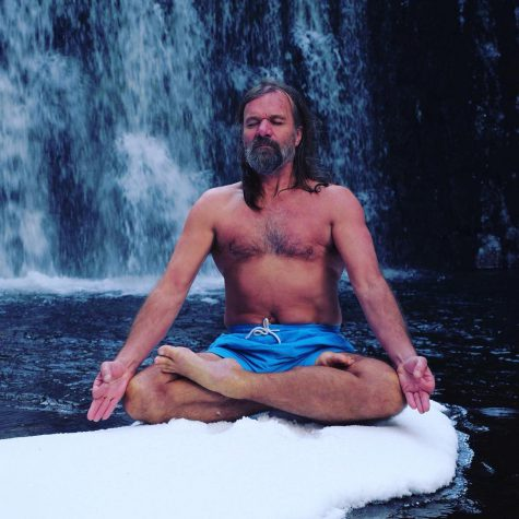 Wim Hof ice meditation in front of waterfall